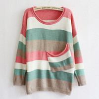 Multicolor Striped Pocket Sweater from Showmall