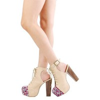 Shoe Republic LA Bloom Blush Slingback Floral Canvas Platform Heels  and Womens Fashion Clothing  Shoes - Make Me Chic