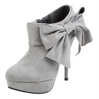 Diva Lounge Lorane105a Gray Oversized Bow Booties and Womens Fashion Clothing  Shoes - Make Me Chic