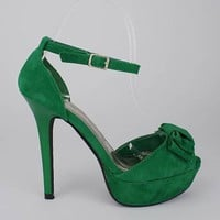 bow front velvet platform $26.40 in GREEN - Stunning Shoes | GoJane.com