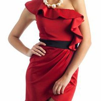 asymmetrical ruffle dress $33.40 in RED TAUPE WHITE - Dressy | GoJane.com