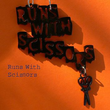 Runs with scissors pendant Acrylic cut by dragonflybuzz on Etsy