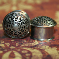 Gunmetal Boho Plugs, 1/2, 9/16, 3/4 7/8