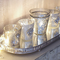Antiqued silver glass votive