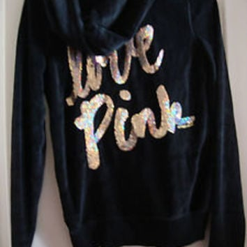 Victoria's Secret love pink sweatshirt hoodie bling gold sequin velour cursive