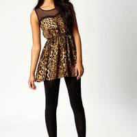 Frankie Mesh Top Leopard Tunic Dress at boohoo.com