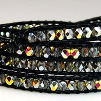 Chan Luu Style Wrap Bracelet - Crystal Marea Fire Polished Crystals - Black Leather