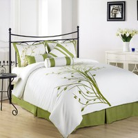 Chezmoi Collection 7 Pieces Flocking Green Tree on White Comforter Set Bed-in-a-bag for Queen Size