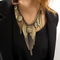 Vintage Leaf&Portrait Tassels Bib Necklace