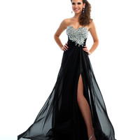 Mac Duggal Prom 2013 - Strapless Black & Silver Gown With Rhinestone Embellishments - Unique Vintage - Cocktail, Pinup, Holiday & Prom Dresses.