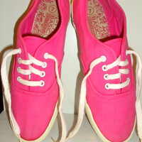 ON SALE Hot Pink 90s sneakers, deck shoes, tennis shoes, keds or vans style shoes