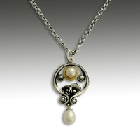 Sterling silver with fresh water pearl and gold by artisanimpact
