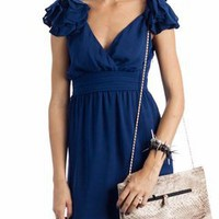 flower shoulder chiffon dress $42.00 in BLUE GREY SALMON - Dressy | GoJane.com