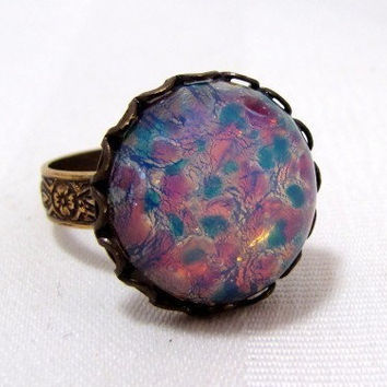 Glass Fire Opal Adjustable Ring by CuteAbility on Etsy