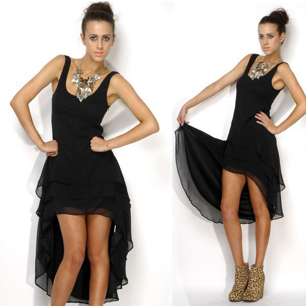 Mermaid Tiered Maxi Dress in Black - Clothing