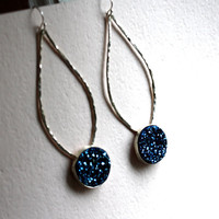 Bright Blue Drusy Pendulum Earrings by RachelPfefferDesigns