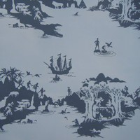 Peter Pan Wallpaper (Charcoal on Pale Grey) from Emma Molony | Made By Emma Molony | 65.00 | Bouf