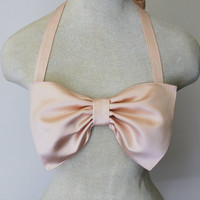 Ballet pink satin bow bandeau Made to order by amourouse on Etsy