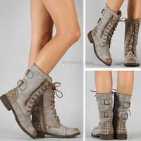 Spiked Combat Boots Studded Zipper Mid Calf Military Studs Spikes Tan Fashion