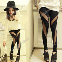 Women's Size S Cotton Mesh Stretch Render Sexy Pants Tights Leggings Black New