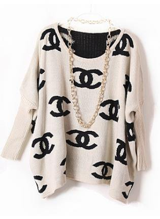 chanel inspired logo sweater from ustrendy sweaters. Black Bedroom Furniture Sets. Home Design Ideas