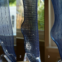 Vintage Thigh High Navy Blue Nylon Fishnet Stockings 4 pairs in original packaging
