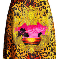 Versace. Short, leopard-print silk skirt 