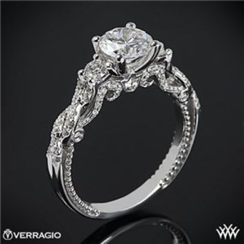 18k White Gold Verragio Braided 3 Stone Engagement Ring