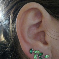 Ear Sweep Wrap Earring - with Swarovsky - Unique- The GREEN Nr4