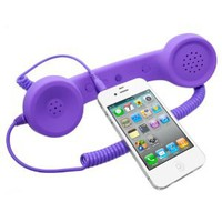 Universal MiniSuit Retro Headset/Handset Ear phone for iPhone, iPad, Blackberry, and Androids - Soft Touch - Purple: Cell Phones & Accessories