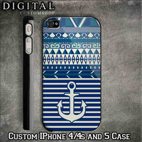 Nautical Anchor with Aztec Pattern custom Black iPhone 4/4s and also available iphone 5 Case Apple Phone Hard Cover Plastic