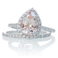 Bridal Set with Matching Band 14K White Gold Pear Cut Shape Diamond Halo Morganite Engagement Solitaire Wedding Anniversary Gemstone Ring