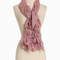 richland vineyard ruffle scarf in light rose at ShopRuche.com, Vintage Inspired Clothing, Affordable Clothes, Eco friendly Fashion