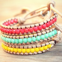 Bright Mix (mint, coral, & yellow) 3 mini beaded leather wrap bracelets