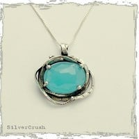 Chunky Silver pendant with faceted blue quartz on a by silvercrush