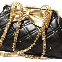 TRINA Golden Bow Black Diamond Quilted Clasp Closure Purse Satchel Handbag w/Detachable Shoulder Ch