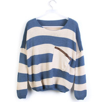 Blue White Striped Pocket Bat Long Sleeve Sweater