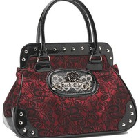 Rock Rebel Brocade Lace Black and Shimmery Red Wine Vintage Style Vegan Handbag Purse