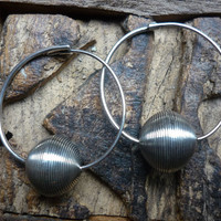 Ethnic sterling silver hoop earrings by Ellishshop on Etsy