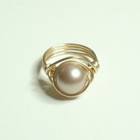 Swarovski Pearl Powder Almond Gold Wire Wrapped Ring