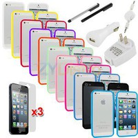 11-in-1 TPU Solid Rubber Bumper Case Covers+Charger+Films for iPhone 5 5G 5th