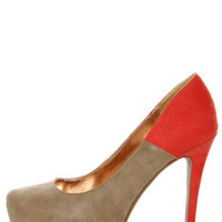 GoMax Cheap Trick 04 Taupe and Orange Platform Heels