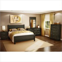 Vendôme 4 PC Bedroom Set in Ebony (Queen Bed, Double Dresser, Mirror, Nightstand) | Bedroom sets