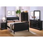 Louis Philippe 4 Pcs Bedroom Set in Deep Black (Bed, Nightstand, Dresser and Mirror) - Coaster Co. | Bedroom sets
