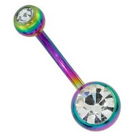 Double Jeweled RAINBOW Titanium-Plated Navel Belly Button Ring