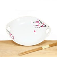Hand painted White ceramic Individual Serving Dish With Chopstics Modern Asian Blooming Cherry Design Plate Kitchen Decor Minimal