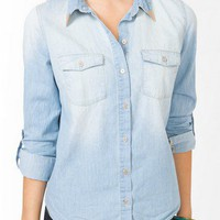 Metal Tip Collar Chambray Shirt | FOREVER 21 - 2031556853