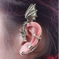 Ear Cuff Dragon dragons metal iron blood and fire new earring left
