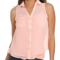 Solid Sleeveless Chiffon Shirt | Shop Trending Now at Wet Seal