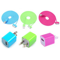 Total 6pcs/lot! Colouful 3PCS USB Data Charging Cable Cord And 3PCS USB Power Adapter Wall Charger For Iphone 4/4s